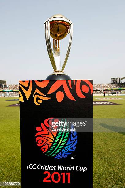 The ICC Cricket World Cup is displayed during the opening game of the ICC Cricket World Cup between Bangladesh and India at the ShereeBangla National...