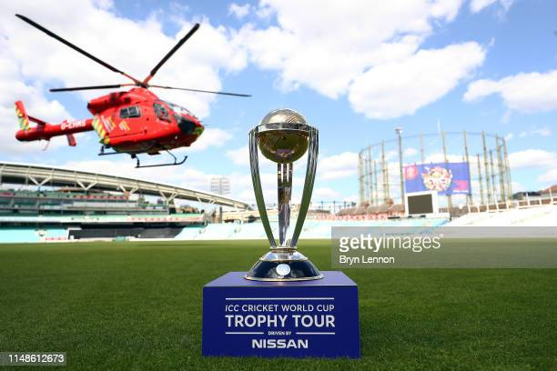 The ICC Cricket World Cup is seen by a London Air Ambulance during the ICC Cricket World Cup Trophy Tour on May 12 2019 in London EnglandLondon's Air...