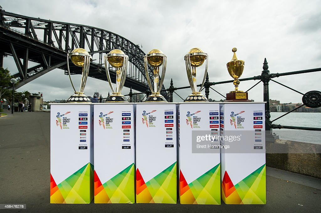 The ICC Cricket World Cup Trophies are pictured during the ICC 2015 Cricket World Cup 100 days to go announcement on November 6, 2014 in Sydney, Australia.