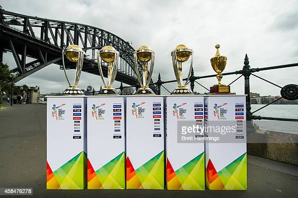 The ICC Cricket World Cup Trophies are pictured during the ICC 2015 Cricket World Cup 100 days to go announcement on November 6 2014 in Sydney...