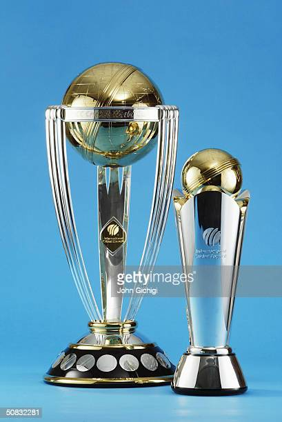The ICC Cricket World Cup Trophy and the ICC Champions Trophy on display during a photo shoot on May 7 2004 at Lord's Cricket Ground in London
