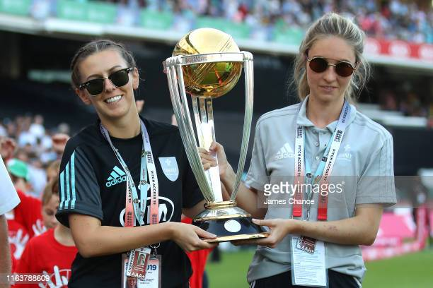 The ICC Cricket World Cup Trophy is paraded around the stadium during a interval during the Vitality Blast match between Surrey and Middlesex at The...