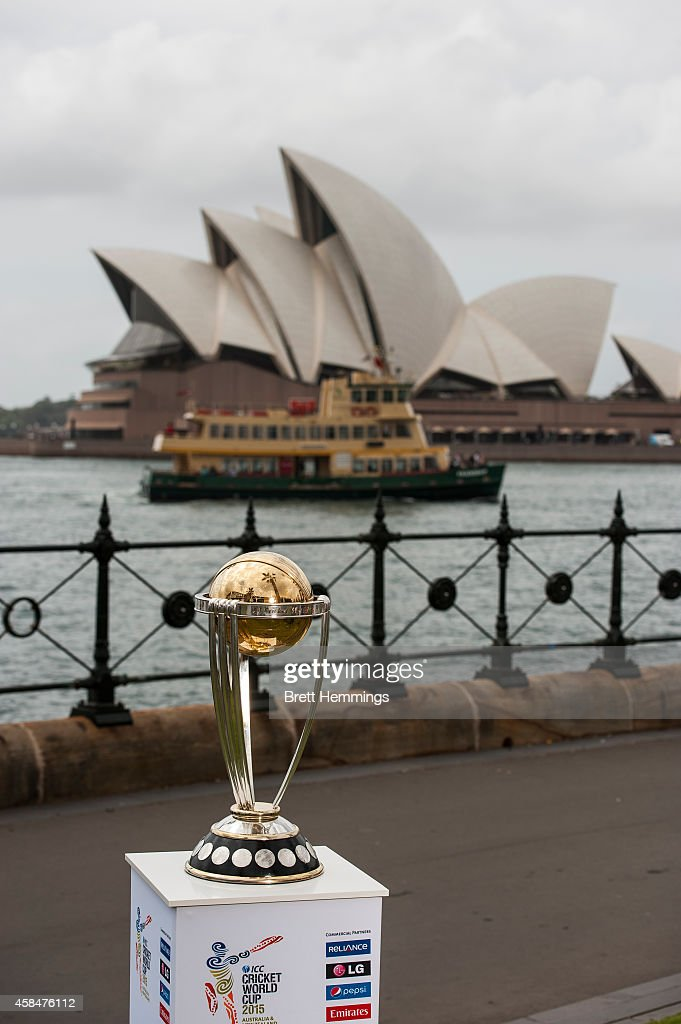 The ICC Cricket World Cup Trophy is pictured during the ICC 2015 Cricket World Cup 100 days to go announcement on November 6, 2014 in Sydney, Australia.