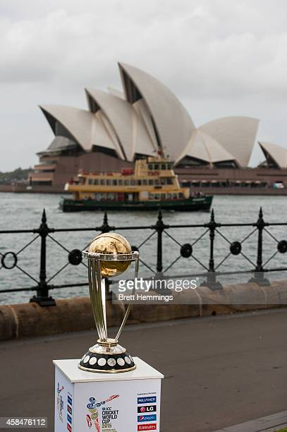 The ICC Cricket World Cup Trophy is pictured during the ICC 2015 Cricket World Cup 100 days to go announcement on November 6 2014 in Sydney Australia