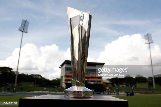 The ICC World T20 trophy on display before the ICC World T20 Group D match between New Zealand and Bangladesh at Pallekele Cricket Stadium on...