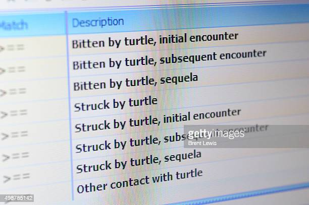 The ICD10 code for being bitten by a turtle on the computer of Dr David Opperman at the Colorado Voice Clinic on November 25 2015 in Denver Colorado...