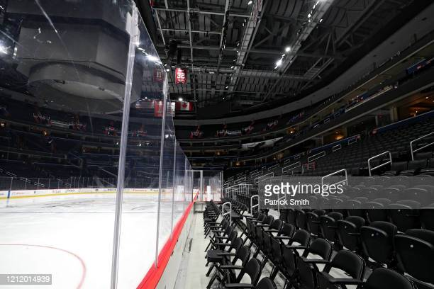 The ice and spectator seating is empty prior to the Detroit Red Wings playing against the Washington Capitals at Capital One Arena on March 12 2020...