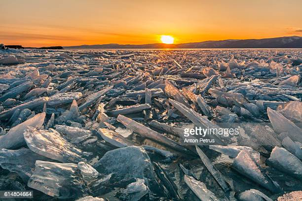 The ice at sunset, Lake Baikal