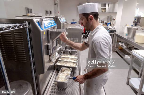 The ice cream maker prepares the ice cream in the Fassi icecream parlor Lab The Palazzo del Freddo means Palace of the Cold di Giovanni Fassi is the...