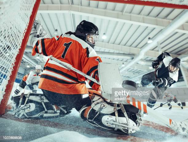 the ice hockey sport female players in action, motion, movement. sport comptetition concpet, girls on training or game at arena - sports league stock pictures, royalty-free photos & images