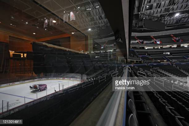 The ice is cleaned and spectator seating is empty prior to the Detroit Red Wings playing against the Washington Capitals at Capital One Arena on...