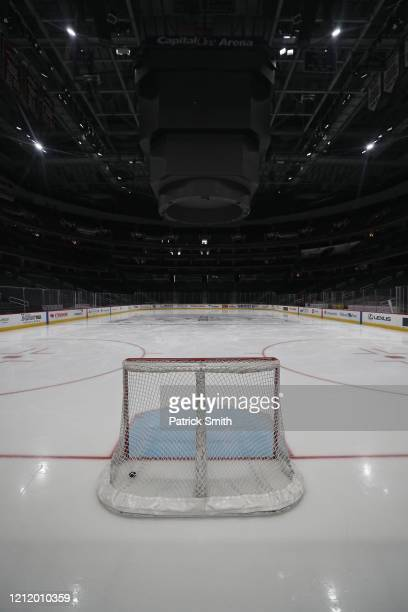 The ice is empty prior to the Detroit Red Wings playing against the Washington Capitals at Capital One Arena on March 12 2020 in Washington DC...