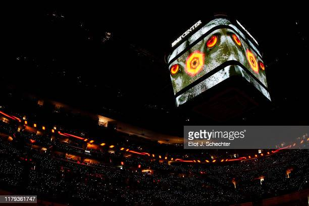 The ice is illuminated prior to the Florida Panthers hosting the Tampa Bay Lightning at the BB&T Center on October 5, 2019 in Sunrise, Florida.