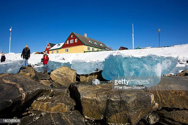 The ice is leaving but there are som small icebergs in the beach in Nuuk and very interesting to look at.