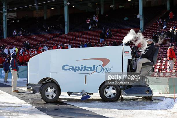 The ice resurfacer waits to make new ice during a Frozen Fenway NCAA Men's Division 1 hockey game between the Boston University Terriers and the...