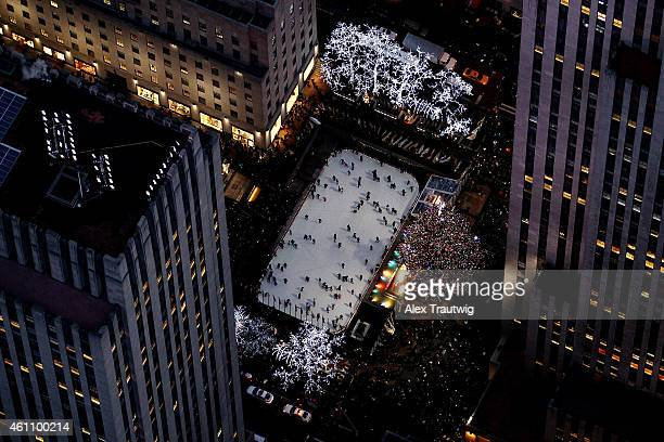 The ice skating rink and Christmas tree in Rockefeller Center are seen from above on December 30 2014 in New York City