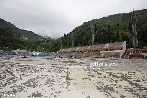 The ice skating rink sits unused during Summer months at the Medeo sports stadium in Almaty Kazakhstan on Saturday June 27 2015 Almaty with a...