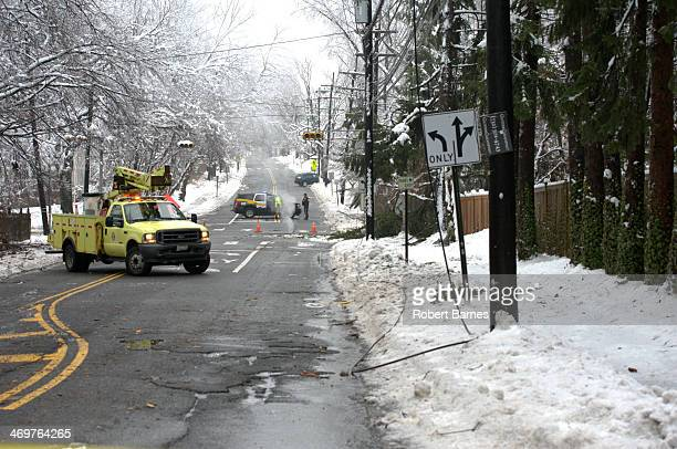 The Ice Storm that hit the New Jersey area on Wednesday February 5 2014 brought down tree limbs and utility lines throughout the day