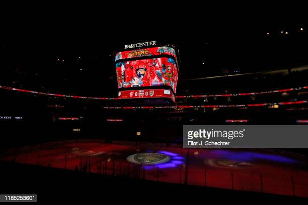 The ice surface is illuminated prior to the Florida Panthers hosting the Detroit Red Wings at the BB&T Center on November 2, 2019 in Sunrise, Florida.