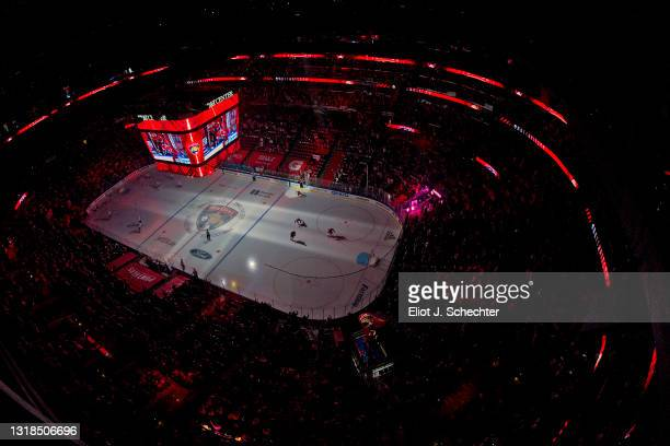 The ice surface is illuminated prior to the Florida Panthers hosting the Tampa Bay Lightning in Game One of the First Round of the 2021 Stanley Cup...