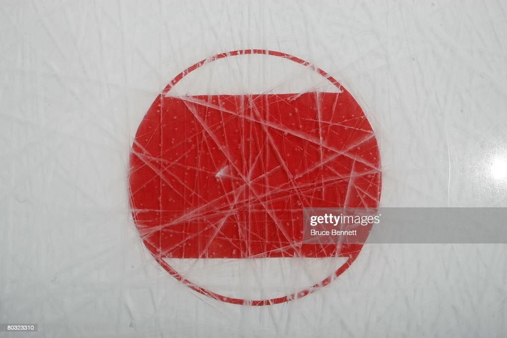 The ice surface photographed on March 18, 2008 prior to the game between the Toronto Maple Leafs and the New York Islanders at the Nassau Coliseum in Uniondale, New York.