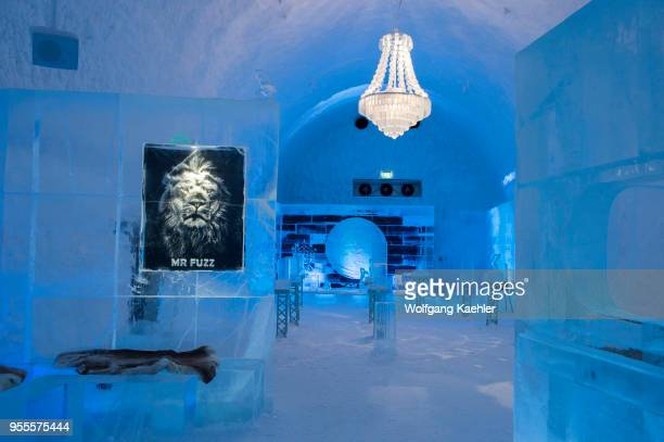 The Icebar at the ICEHOTEL 365 which was launched in 2016 and is a permanent structure offering year round the stay in the Icehotel in Jukkasjarvi...