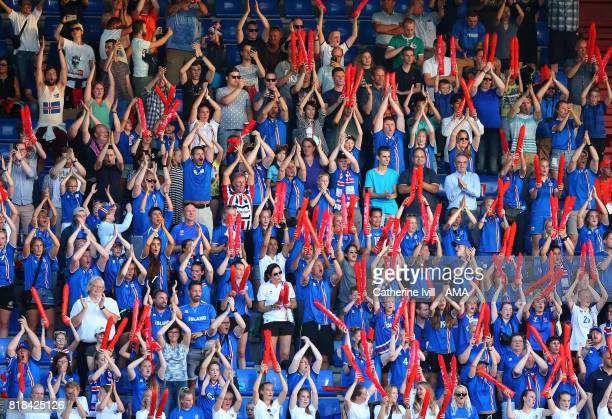 The Iceland fans do the viking thunder clap during the UEFA Women's Euro 2017 match between France and Iceland at Koning Willem II Stadium on July 18...