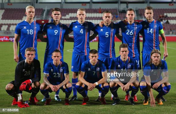 The Iceland line up prior to the international friendly match between Iceland and Czech Republic at Abdullah bin Khalifa Stadium on November 8 2017...