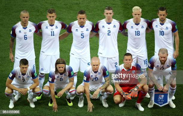 The Iceland players line up for a team photo prior to the 2018 FIFA World Cup Russia group D match between Iceland and Croatia at Rostov Arena on...