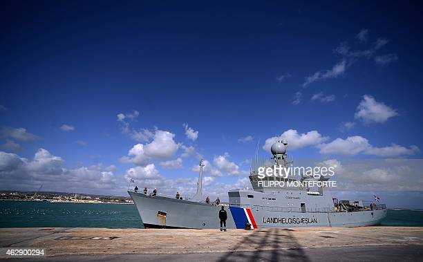 The Iceland's patrol vessel Tyr arrives on February 6 2015 in the port of Pozzallo in Sicily Iceland is participating in the Frontex Joint Operation...
