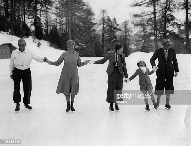 The iceskating Royal family of King Farouk King of Egypt in Switzerland H E Sakry Pasha uncle to the king a skating instructress Princess Fawzia her...