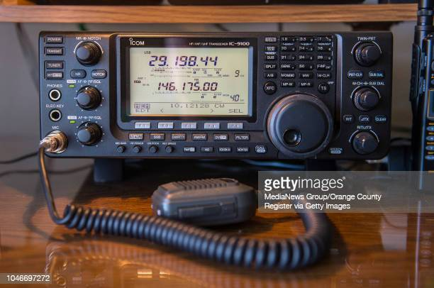 The ICOM transceiver that Vi Barrett of Fullerton a ham radio operator for over 70 years uses with her call sign W6CBA to talk with people around the...