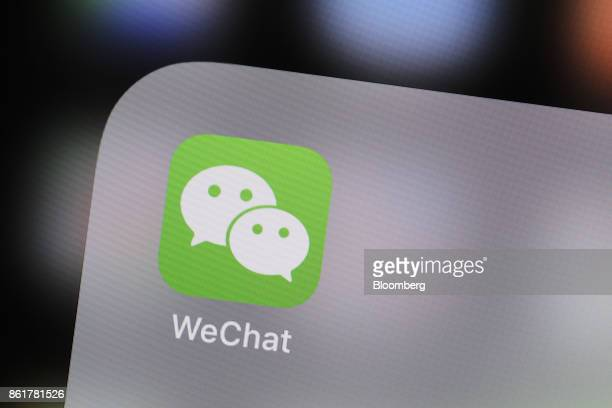 The icon for the Tencent Holdings Ltd WeChat messaging application is seen in this arranged photograph taken in Hong Kong China on Thursday Oct 12...