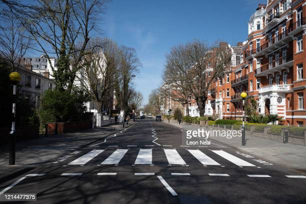 The iconic Abbey Road crossing is seen after a repaint by a Highways Maintenance team as they take advantage of the COVID19 coronavirus lockdown and...