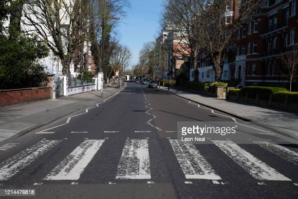 The iconic Abbey Road crossing is seen before a repaint by a Highways Maintenance team as they take advantage of the COVID19 coronavirus lockdown and...