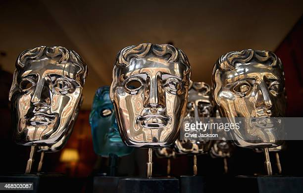 The iconic BAFTA mask awards sit ready to be polished at the Savoy Hotel ahead of the British Academy Film Awards on Sunday 16th February on February...