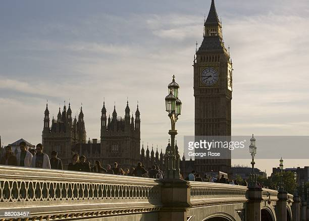 The iconic Big Ben clock tower at the House of Parliament on the Thames River is seen in this 2009 London United Kingdom cityscape photo taken on...
