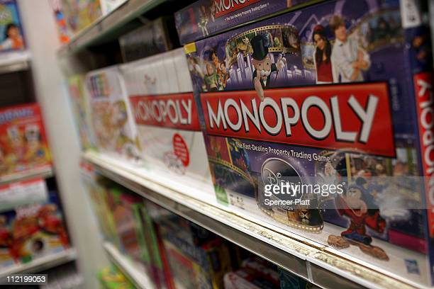 The iconic board game Monopoly by toymaker Hasbro is displayed at a toy store on April 14 2011 in New York City As demand for board games and puzzles...