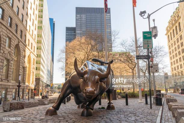 the iconic charging bull statue is not surrounded by the usual crowd because the city is deserted during the state of emergency triggered by the covid-19 pandemic. - bull stock pictures, royalty-free photos & images