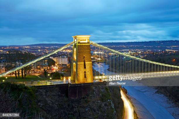 The Iconic Clifton suspension bridge spanning Avon Gorge at dusk