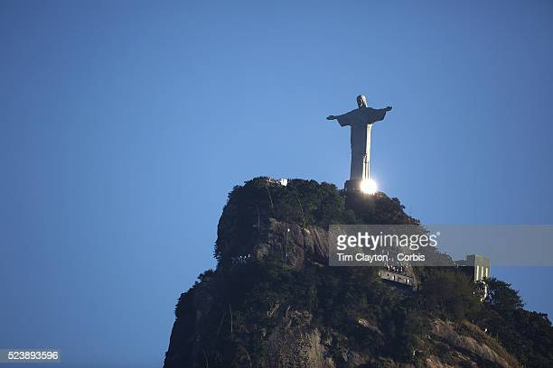 The iconic Cristo Redentor Christ the Redeemer statue sits atop the mountain Corcovado The Christ statue was voted one of the seven wonders of the...