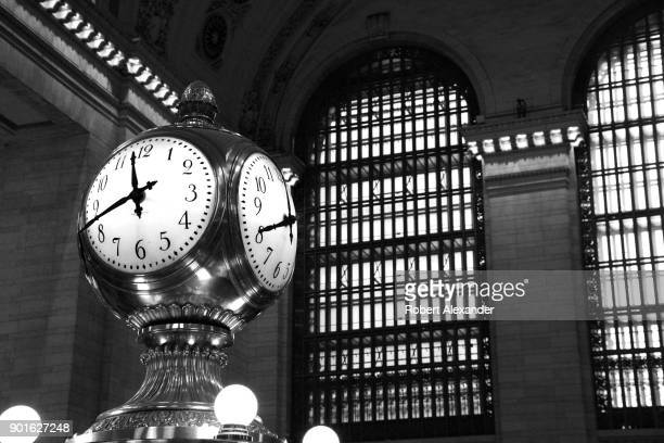 The iconic Main Concourse Information Booth Clock in Grand Central Terminal in New York City