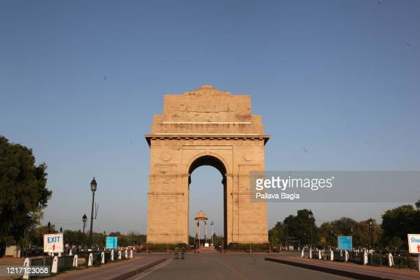 The iconic monument India Gate is closed to the public as India battles the Covid 19 pandemic on April 5 2020 in New Delhi India The twelfth day of...