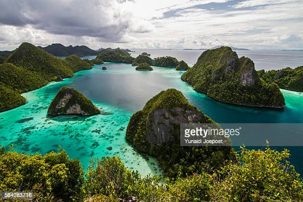 the iconic of wayag island, raja ampat, indonesia - raja ampat islands stock photos and pictures