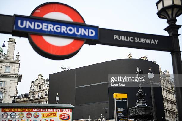The iconic Piccadilly Circus advertising boards remain switched off as work begins on their replacement on January 16 2017 in London England The...