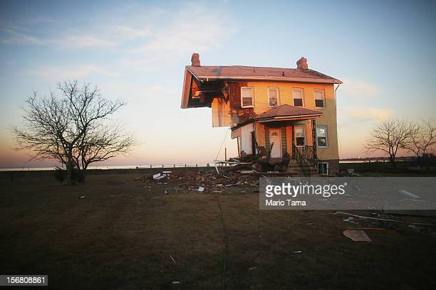 The iconic Princess Cottage built in 1855 remains standing after being ravaged by flooding on November 21 2012 in Union Beach New Jersey Little more...