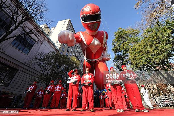 The iconic Red Mighty Morphin Power Ranger takes to the skies for another epic flight during the 89th Annual Macys Thanksgiving Day Parade on...