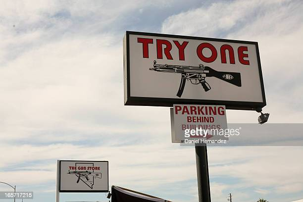 The iconic signage of The Gun Store -- Las Vegas' first machine gun shooting range, open since 1982.