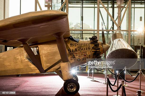 The iconic Spirit of St Louis rests on the ground floor after being lowered from the ceiling to be inspected for possible maintenance at the...