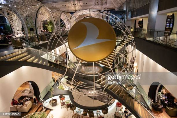 The iconic stairway inside the two level quotLounge Istanbulquot in Istanbul Ataturk Airport IST / LTBA which is a Business class lounge of Turkish...